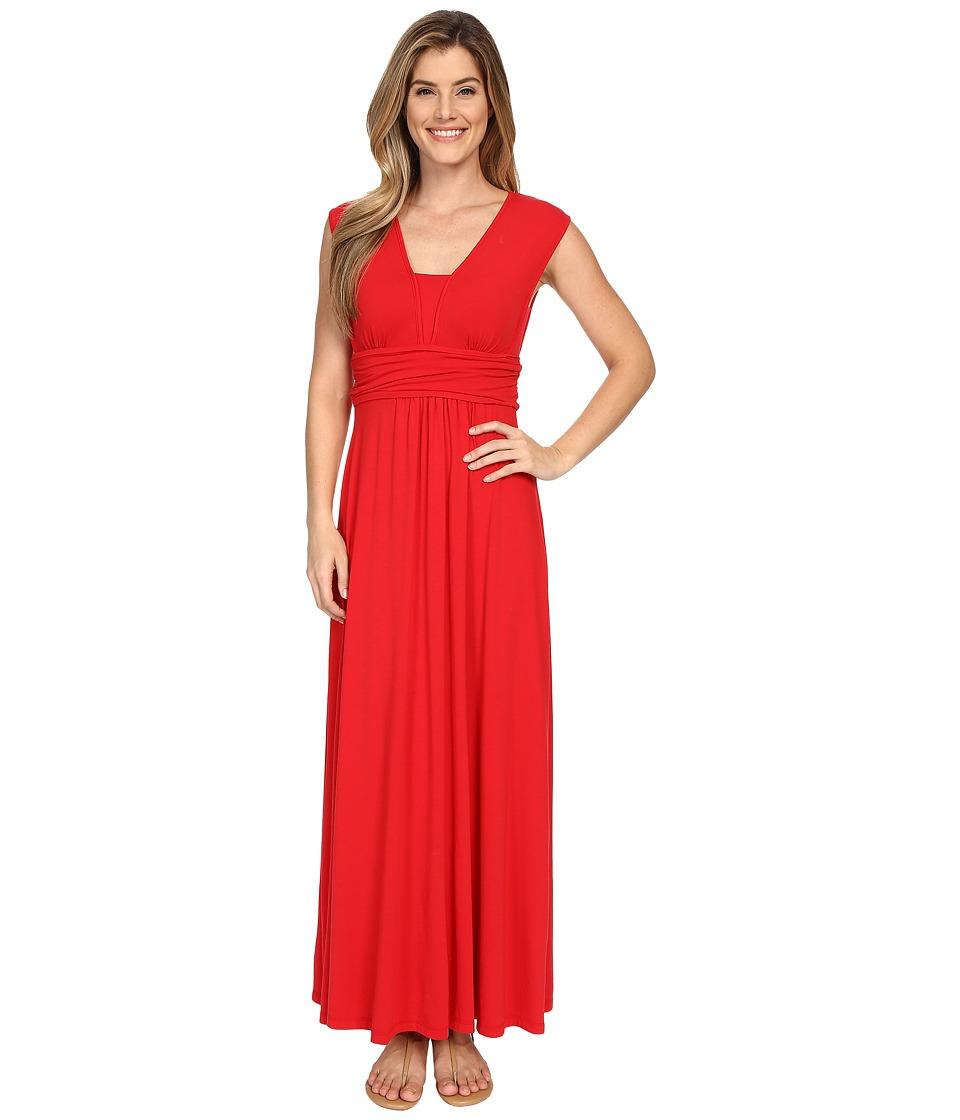 Mod-o-doc Cotton Modal Spandex Jersey Empire Shirred V-Neck Maxi Dress (Zinnia) Women