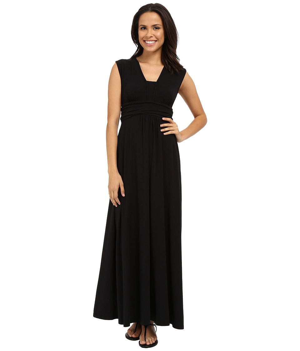 Mod-o-doc - Cotton Modal Spandex Jersey Empire Shirred V-Neck Maxi Dress (Black) Women's Dress