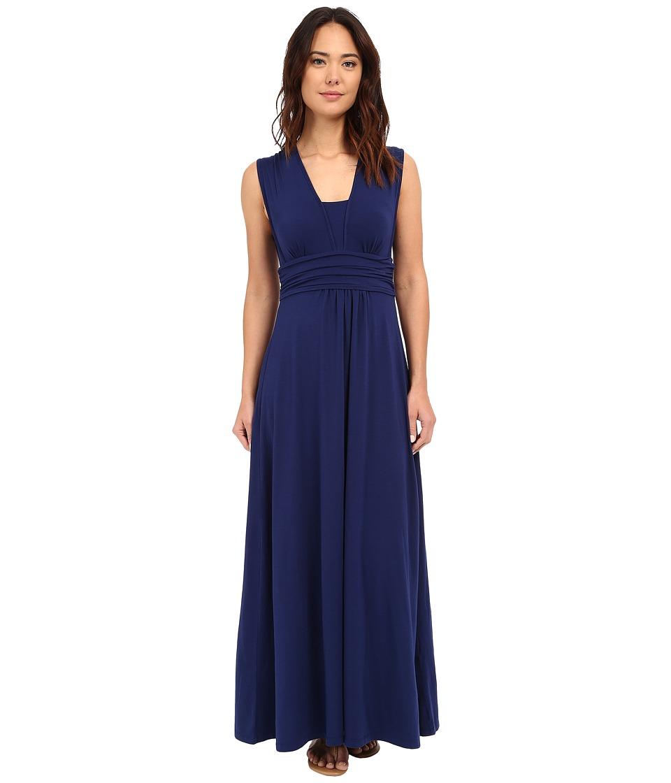 Mod-o-doc - Cotton Modal Spandex Jersey Empire Shirred V-Neck Maxi Dress (Inkwell) Women's Dress
