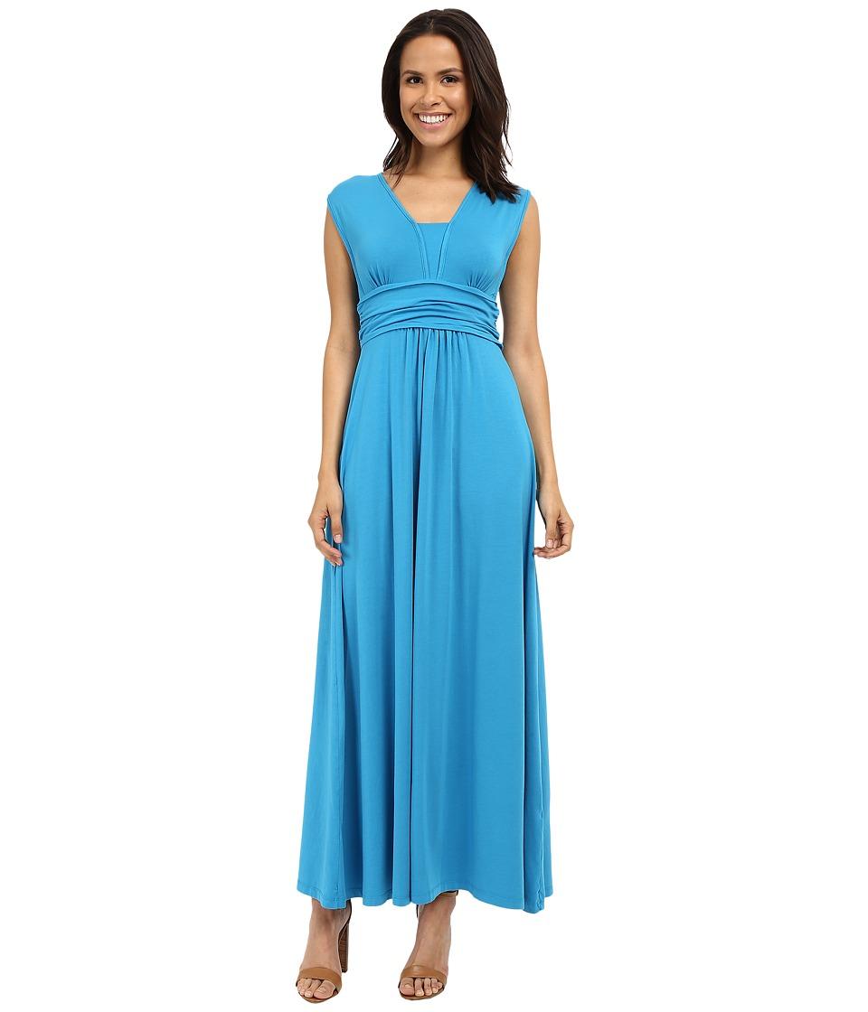 Mod-o-doc Cotton Modal Spandex Jersey Empire Shirred V-Neck Maxi Dress (Hypnotic) Women