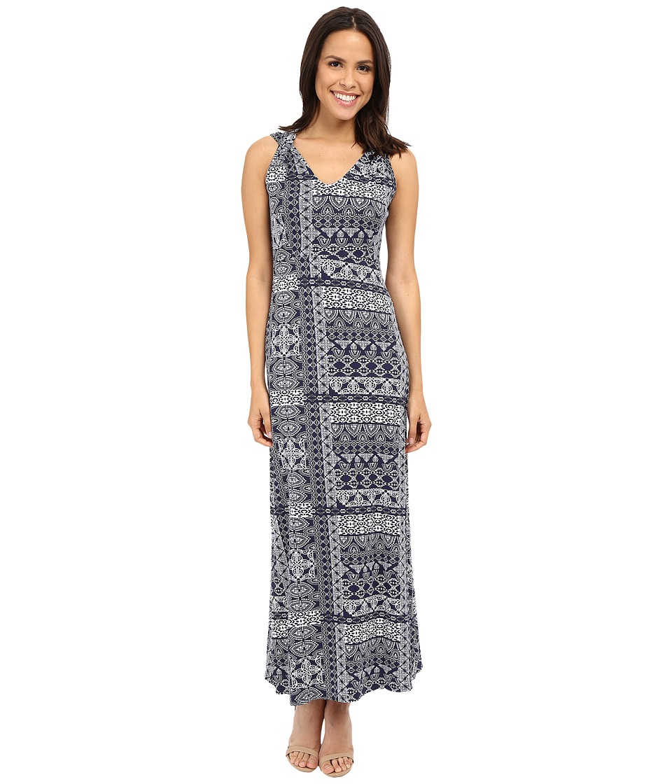 Mod-o-doc - Patchwork Tiles Printed Rayon Spandex Jersey Shoulder Twist Maxi Dress (Inkwell) Women's Dress