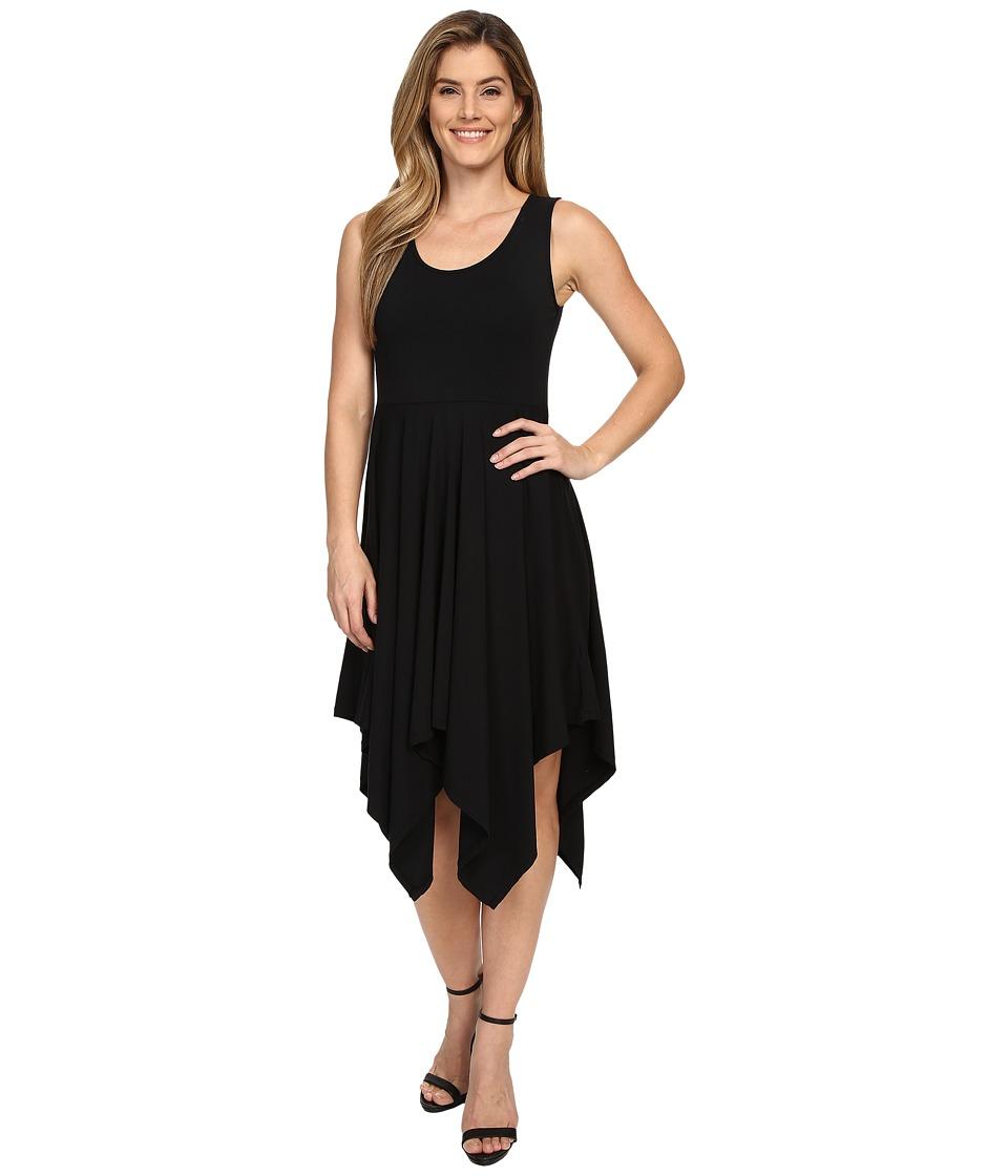 Mod-o-doc - Cotton Modal Spandex Jersey Hanky Hem Tank Dress (Black) Women's Dress