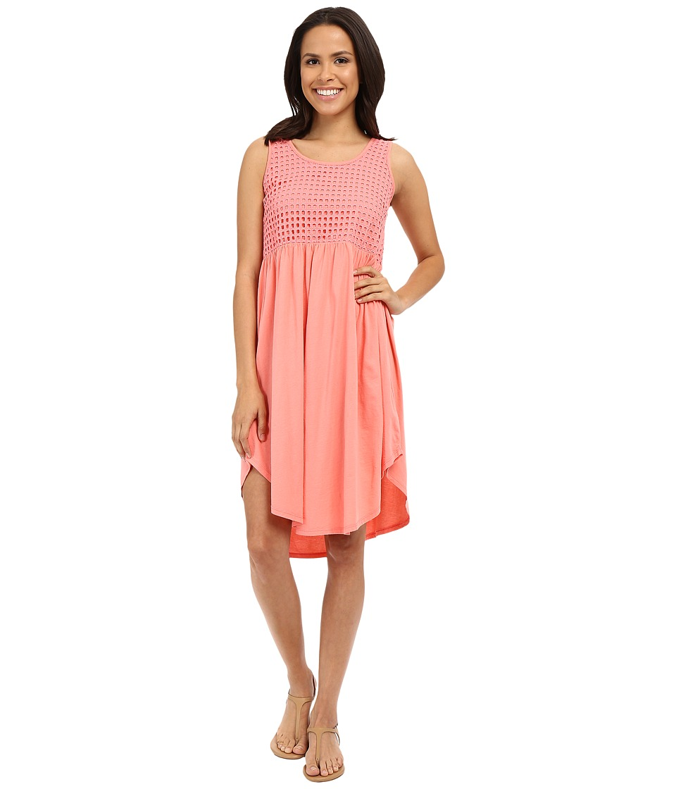 Mod-o-doc - Supreme Jersey Eyelet Panel Tank Dress (Cafe Coral) Women's Dress