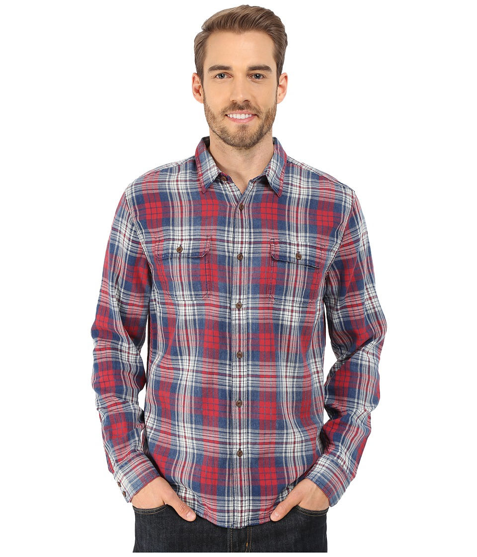 Lucky Brand - Jon Workwear Shirt (Indigo/Red/White) Men's Long Sleeve Button Up