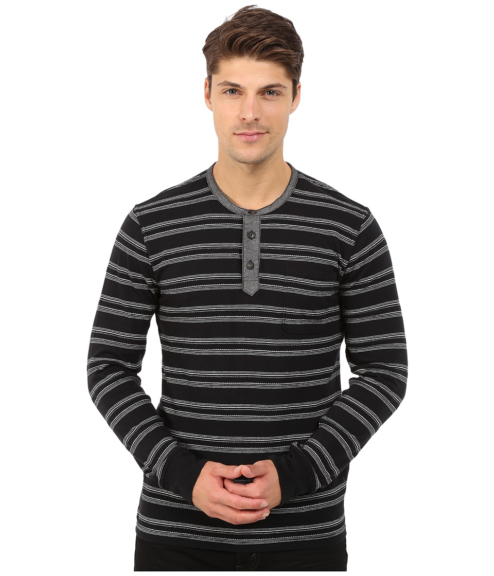 Lucky Brand Jacquard Henley (Black Multi) Men