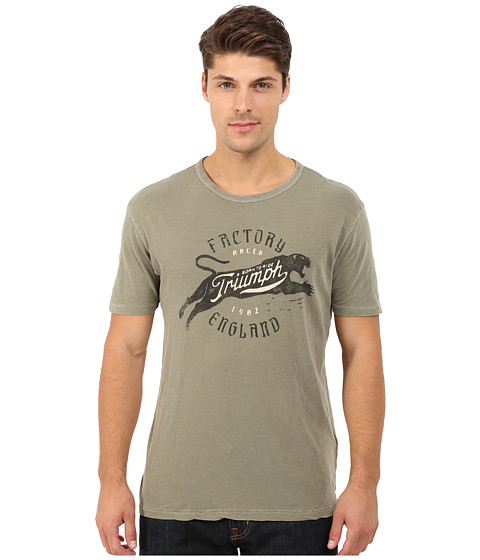 Lucky Brand - Triumph Factory Graphic Tee (Burnt Olive) Men