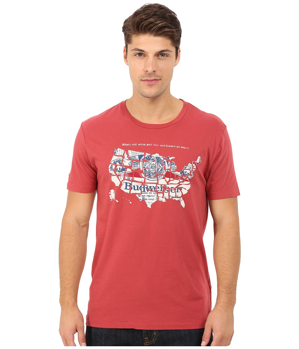 Lucky Brand Budweiser America Graphic Tee (Pompeian Red) Men