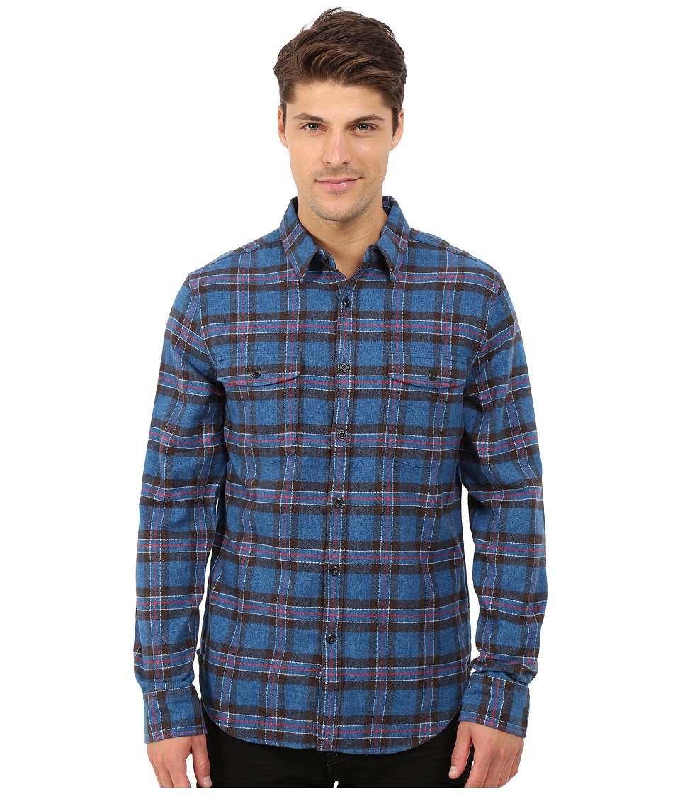 Lucky Brand - Pacifica Workwear Shirt (Blue/Black/Red) Men's Long Sleeve Button Up