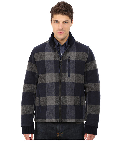 Lucky Brand - Wool Bomber Jacket (Navy Grey Plaid) Men's Coat