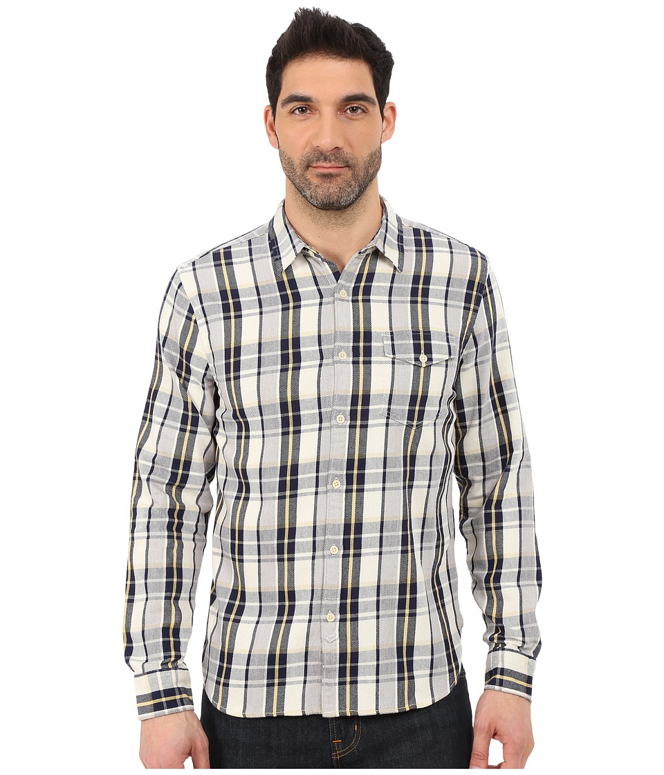 Lucky Brand - Sunset One-Pocket Shirt (Navy/Grey/Gold) Men's Long Sleeve Button Up