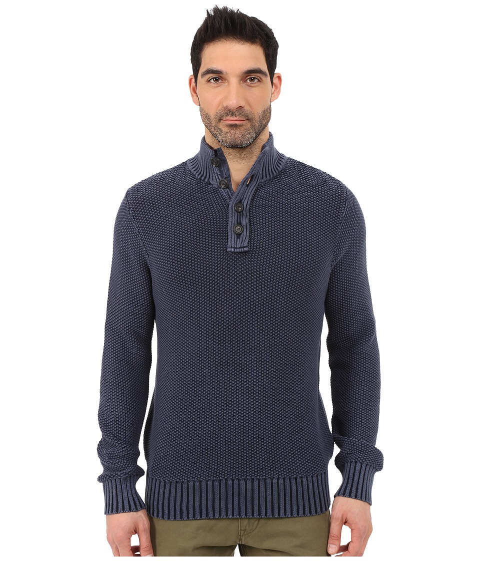 Lucky Brand - Washed Out Mock Neck (Blue) Men's Sweater