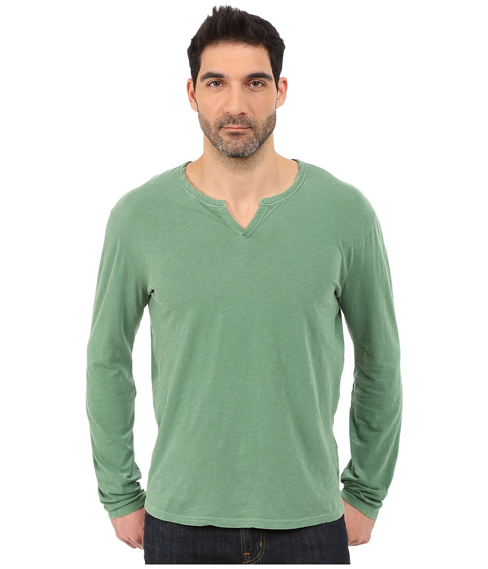 Lucky Brand - Long Sleeve Notch Neck Tee (Lush Green) Men's T Shirt