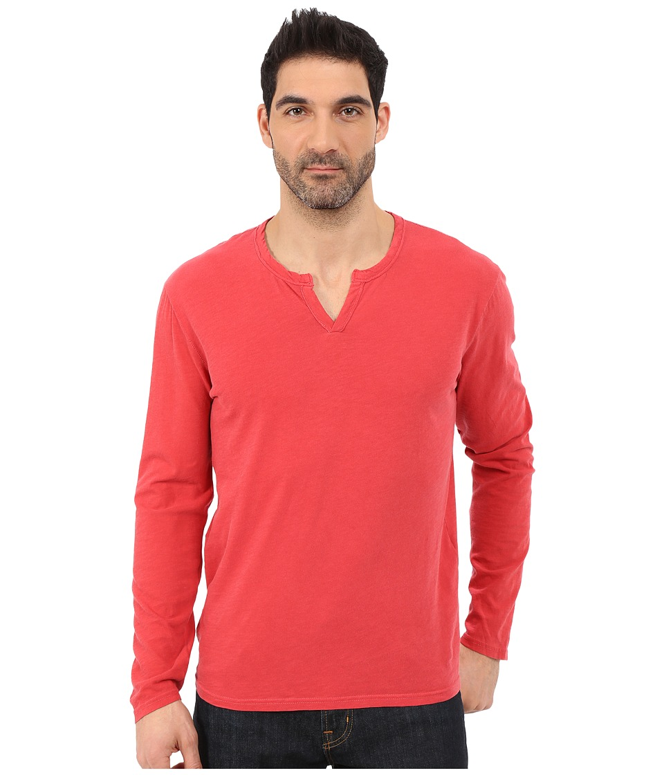 Lucky Brand - Long Sleeve Notch Neck Tee (Red Lantern) Men's T Shirt