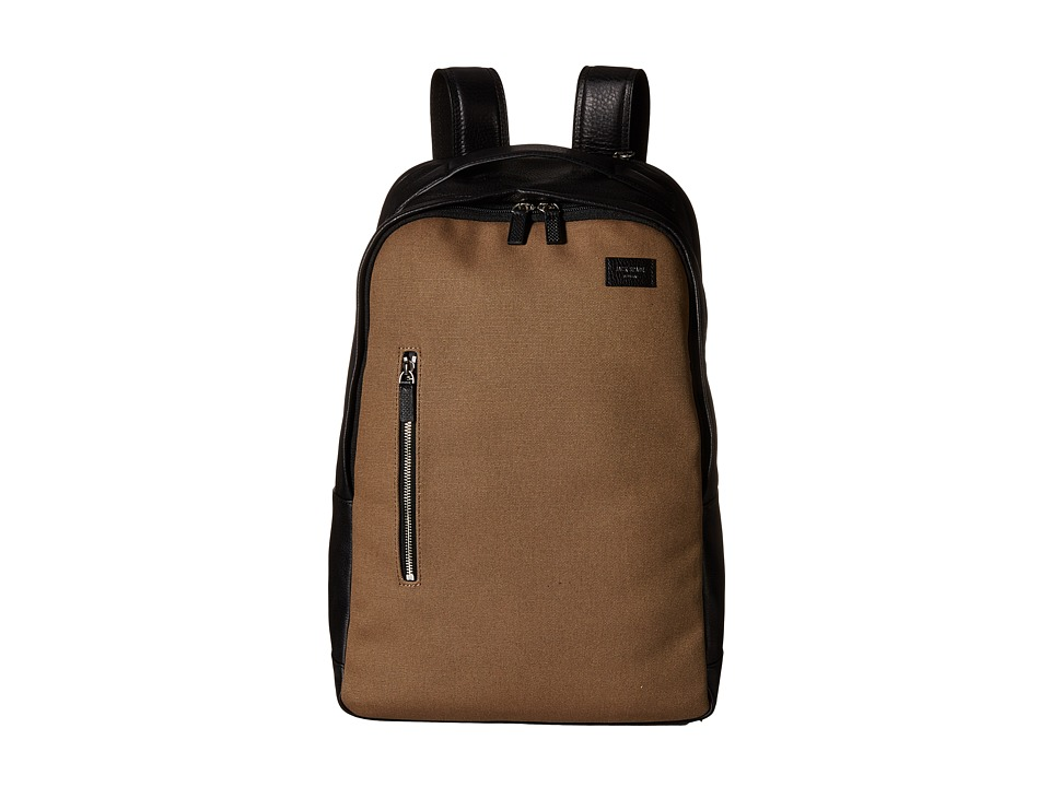 Jack Spade - Industrial Canvas and Leather Backpack (Shitake) Backpack Bags