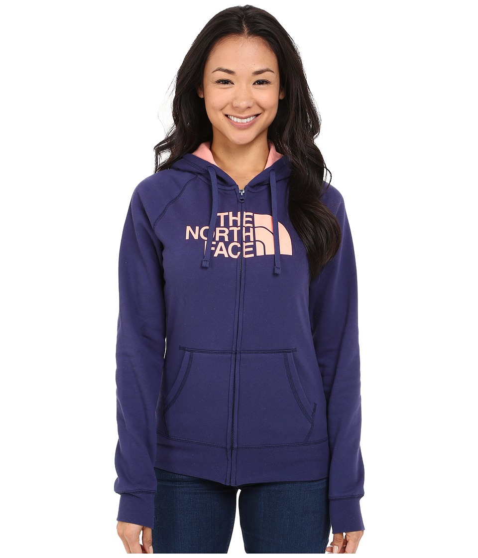 The North Face - Half Dome Full Zip Hoodie (Patriot Blue/Neon Peach) Women's Fleece