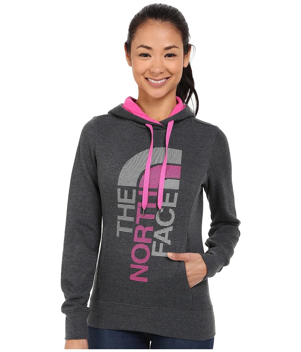 The North Face - TriVert Logo Pullover Hoodie (TNF Dark Grey Heather/Raspberry Rose) Women's Sweatshirt