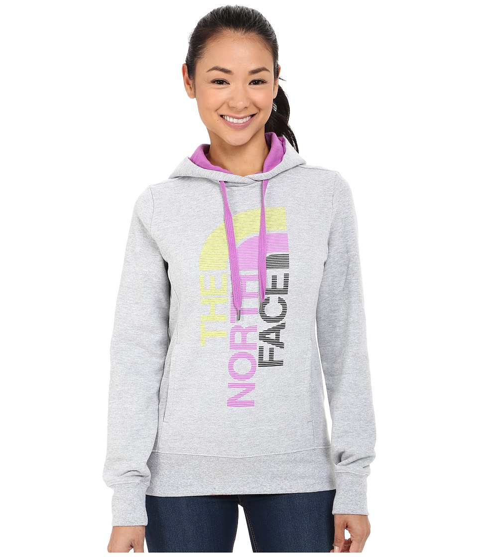 The North Face TriVert Logo Pullover Hoodie (TNF Light Grey Heather/Sweet Violet) Women