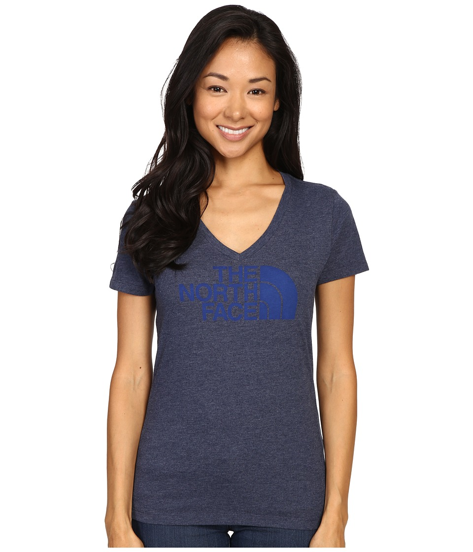 The North Face - Short Sleeve Half Dome V-Neck Tee (Patriot Blue Heather/Bomber Blue) Women