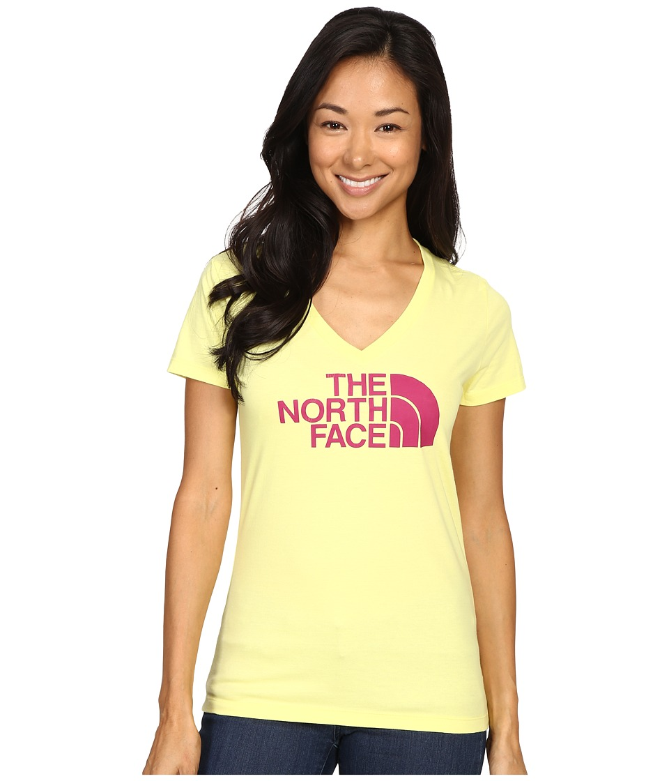The North Face - Short Sleeve Half Dome V-Neck Tee (Hamachi Yellow/Fuchsia Pink) Women's T Shirt