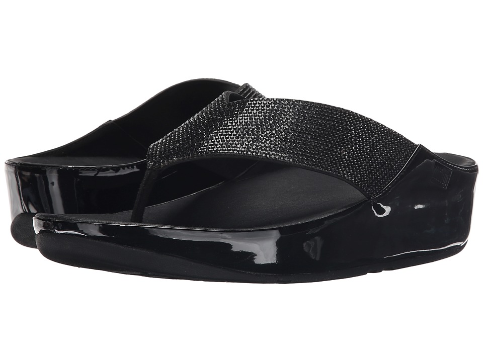 FitFlop - Crystall Toe Post (Black) Women's Sandals