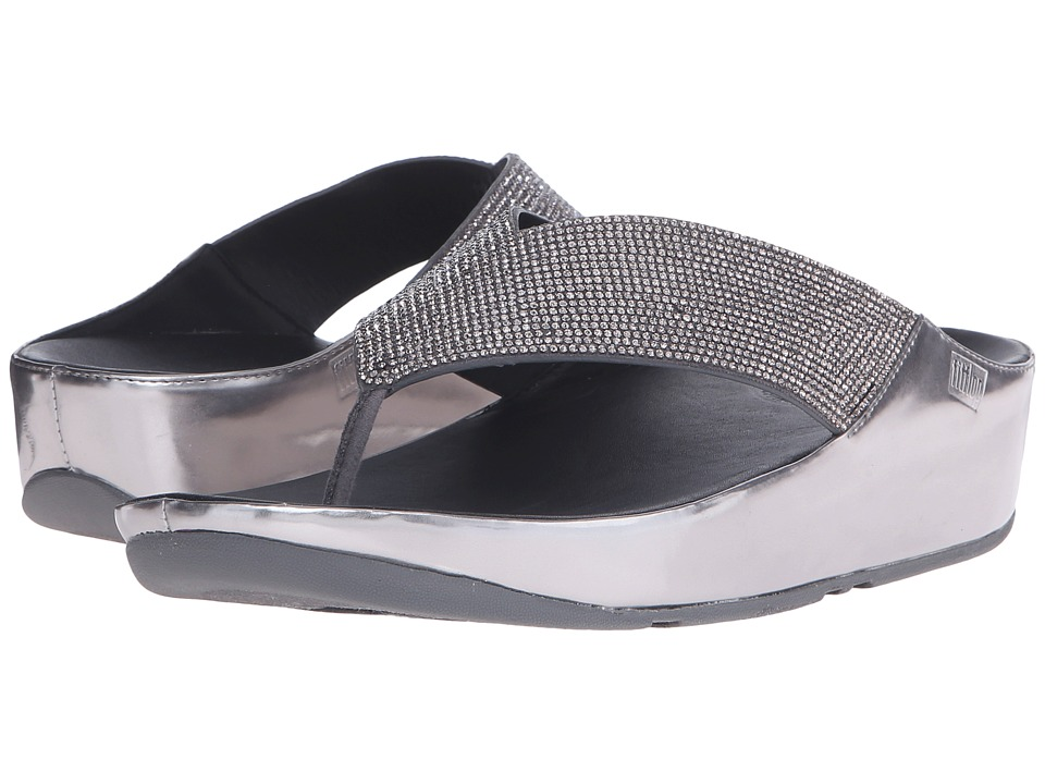 FitFlop - Crystall Toe Post (Pewter) Women's Sandals