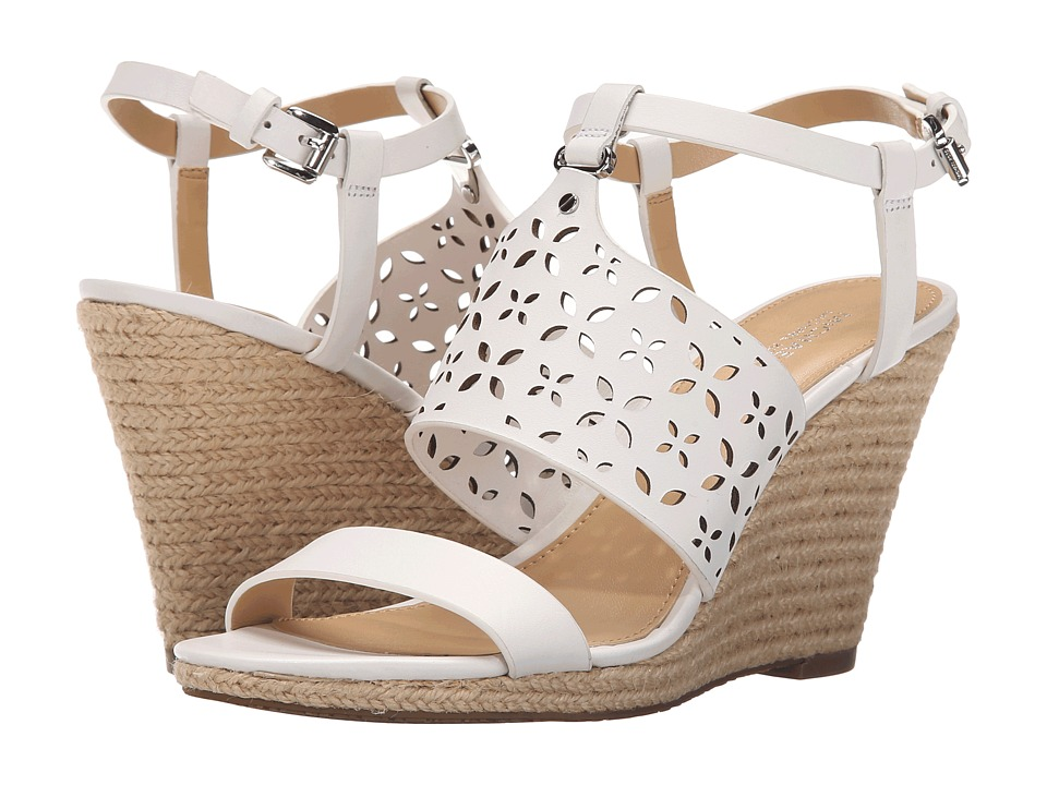 MICHAEL Michael Kors - Darci Wedge (Optic White Vachetta) Women's Shoes