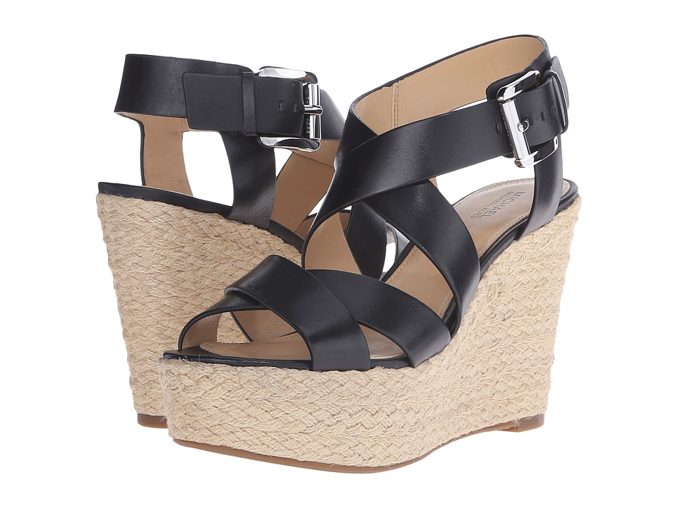 MICHAEL Michael Kors - Celia Mid Wedge (Black Vachetta) Women