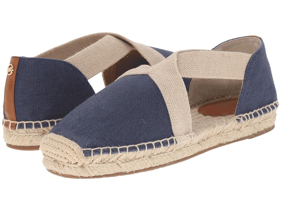 MICHAEL Michael Kors - Dana Espadrille (Navy Small Weave Canvas/Vachetta) Women's Shoes