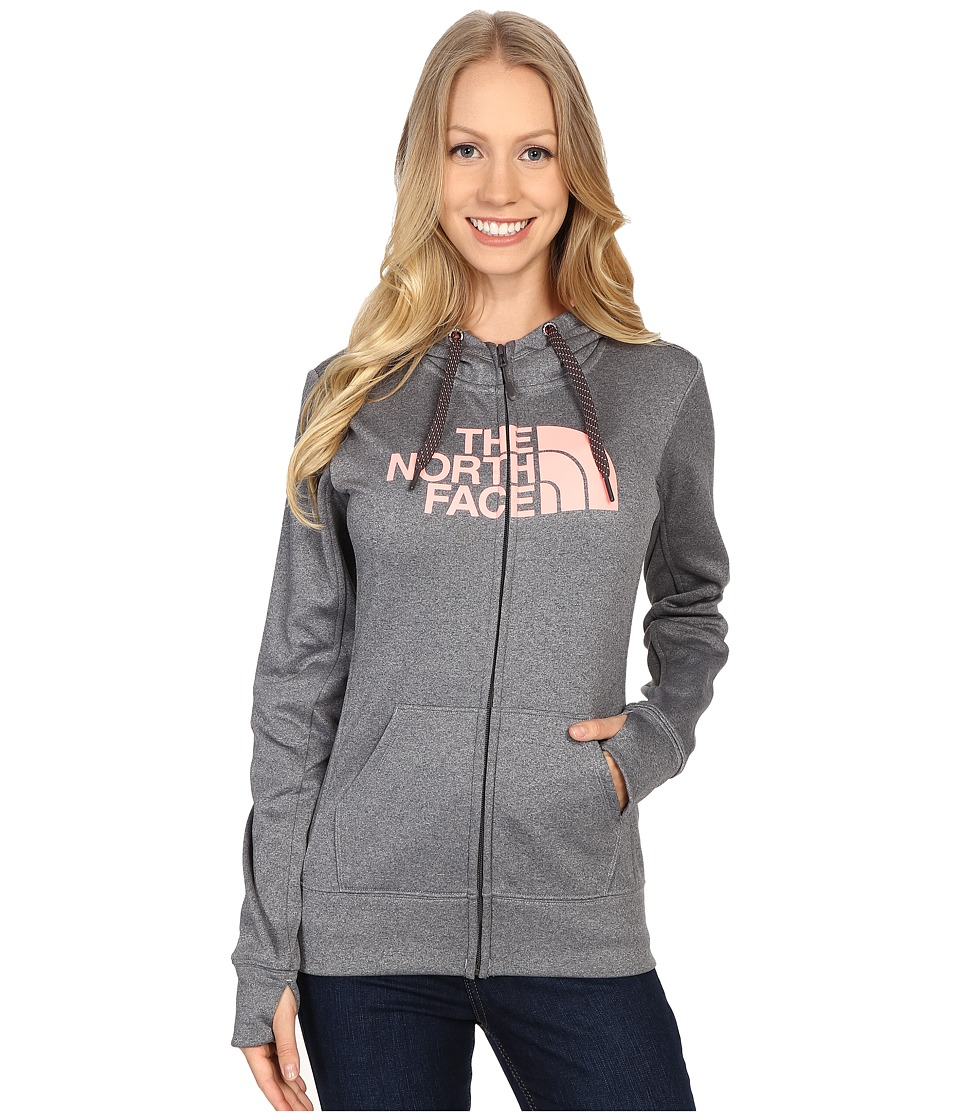 The North Face - Fave Half Dome Full Zip Hoodie (TNF Medium Grey Heather/Neon Peach) Women's Sweatshirt