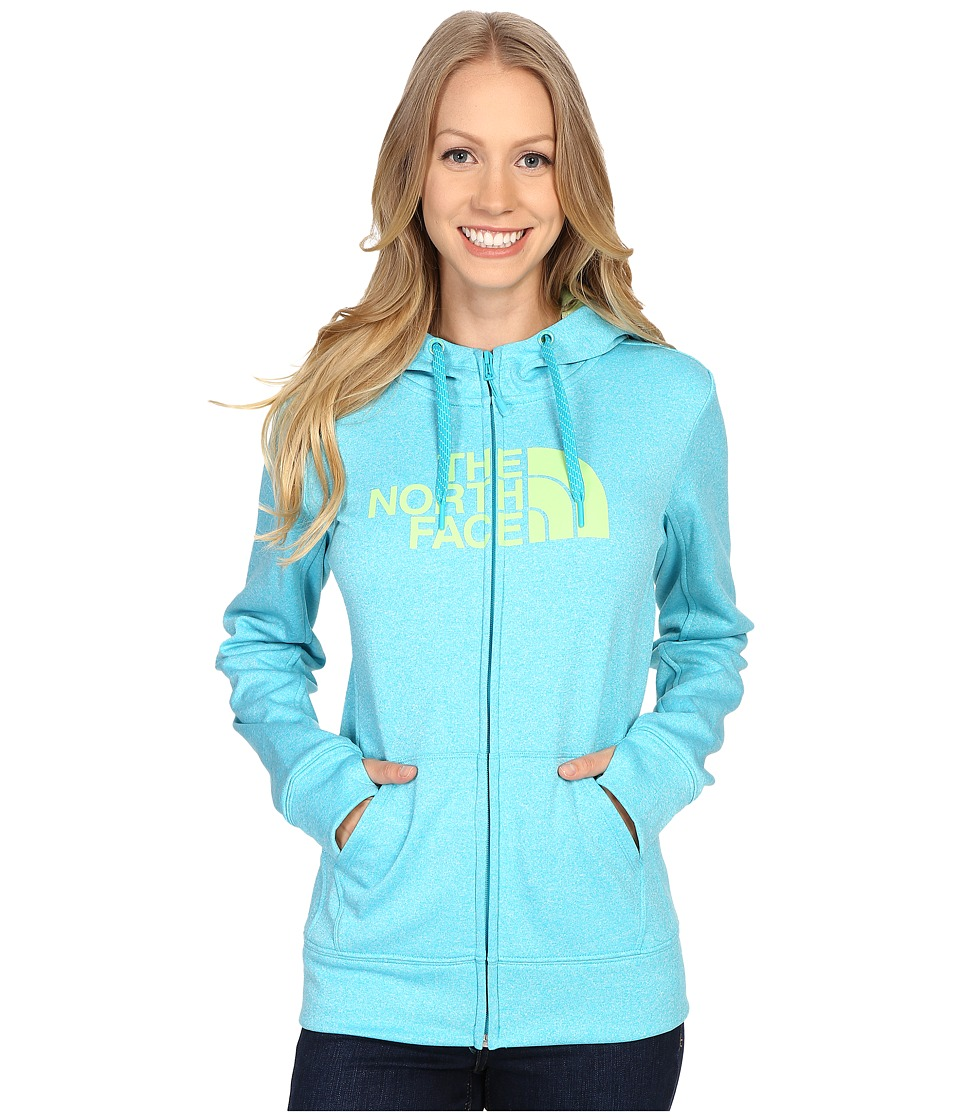 The North Face - Fave Half Dome Full Zip Hoodie (Bluebird Heather/Budding Green) Women's Sweatshirt