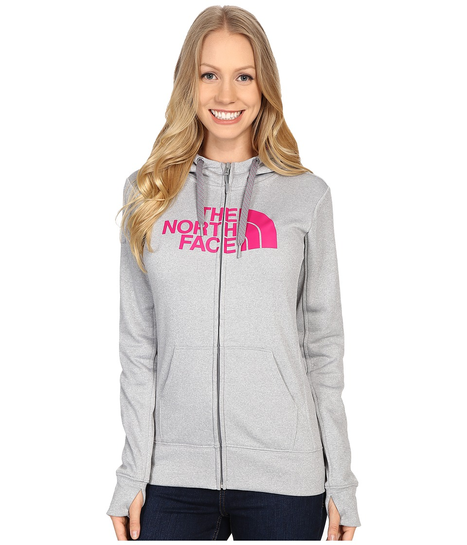 The North Face - Fave Half Dome Full Zip Hoodie (TNF Light Grey Heather/Fuchsia Pink) Women's Sweatshirt