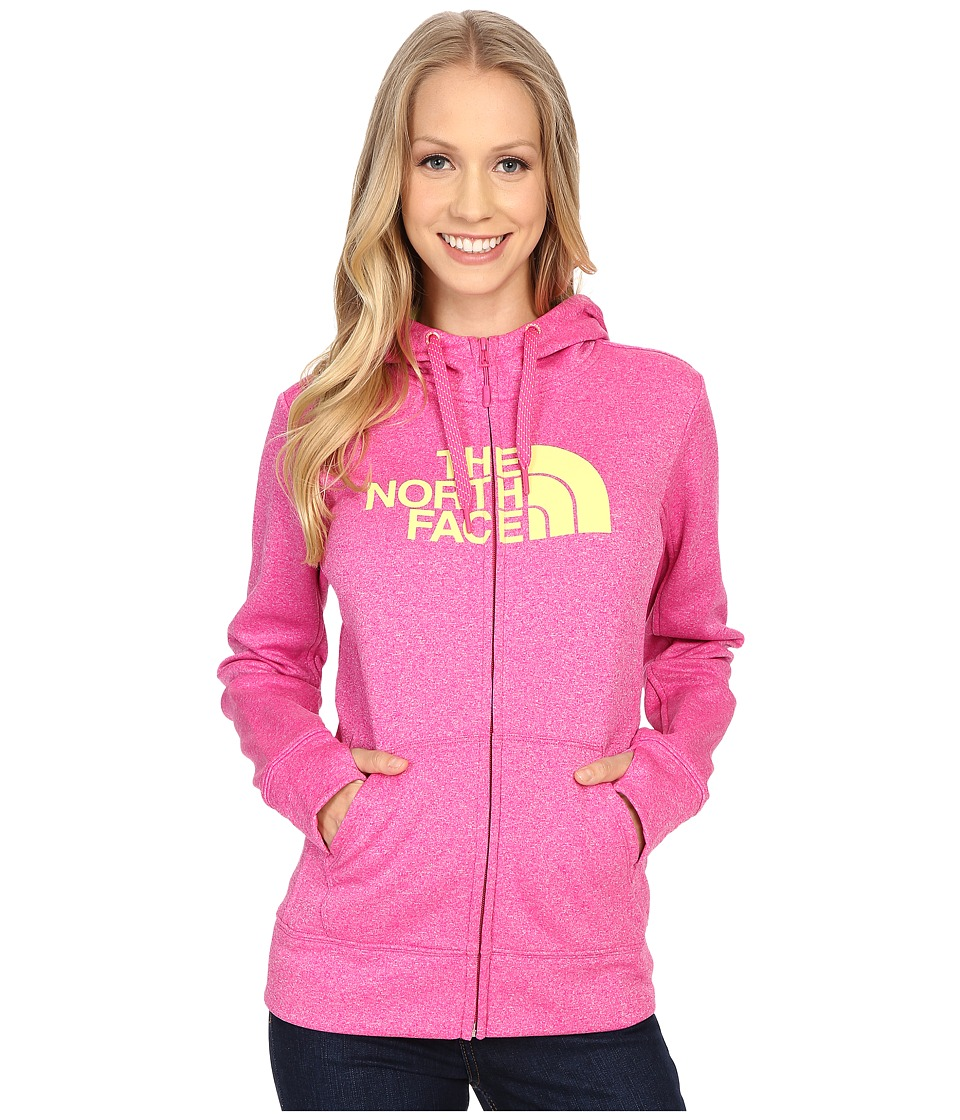 The North Face - Fave Half Dome Full Zip Hoodie (Raspberry Rose Heather/Hamachi Yellow) Women's Sweatshirt