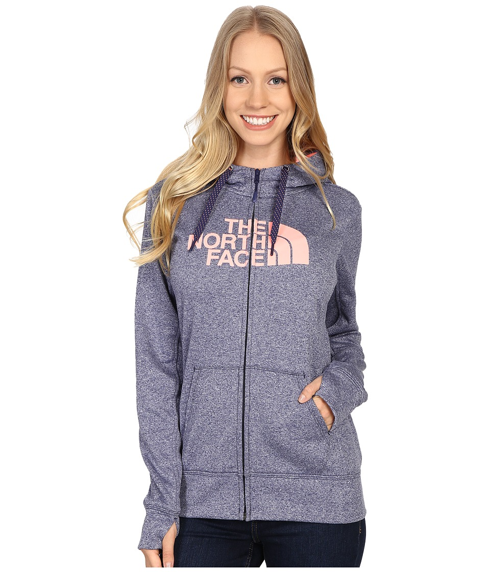 The North Face - Fave Half Dome Full Zip Hoodie (Patriot Blue Heather/Neon Peach) Women's Sweatshirt