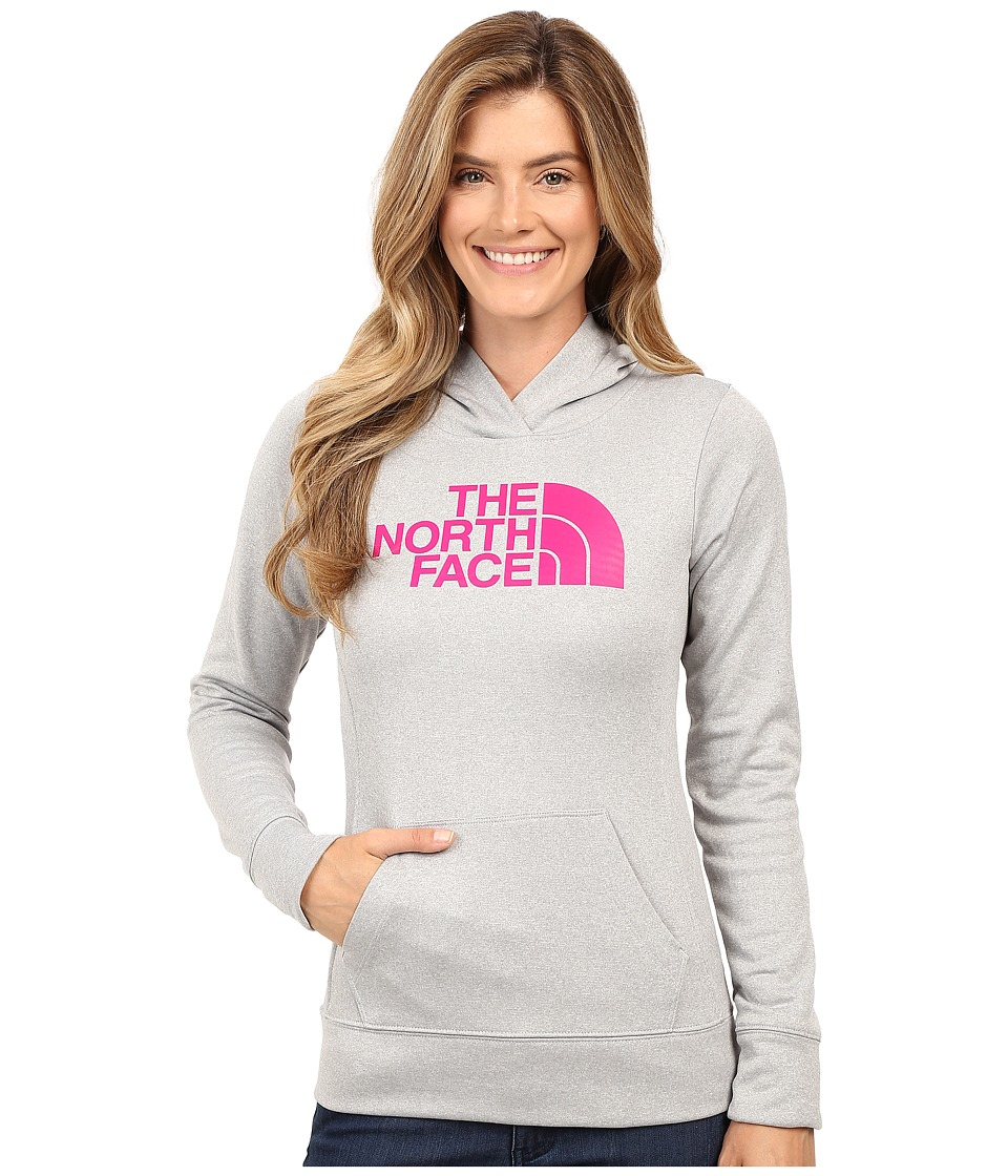 The North Face - Fave Half Dome Pullover Hoodie (TNF Light Grey Heather/Fuchsia Pink) Women's Sweatshirt