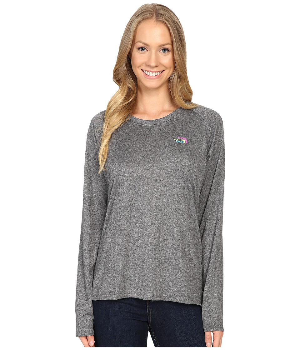 The North Face - Long Sleeve LFC Reaxion Tee (TNF Medium Grey Heather/Sweet Violet Multi) Women