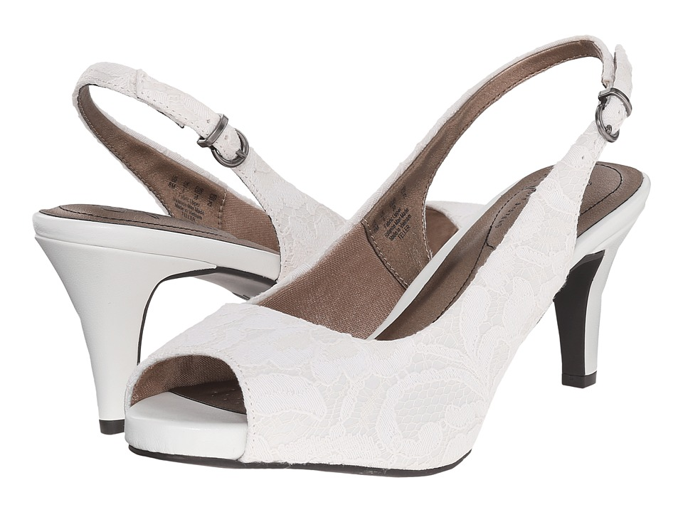 LifeStride - Teller (White Lace Satin Fabric) High Heels