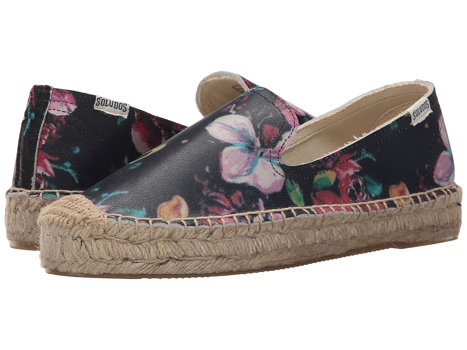 Soludos - Platform Smoking Slipper Leather (Vintage Floral Leather) Women's Slippers
