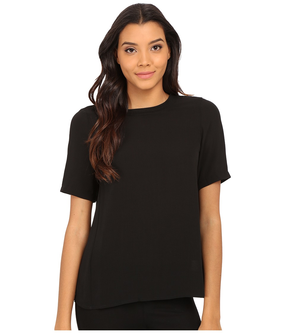 Olive & Oak - Short Sleeve Woven Zip Top (Black) Women's Blouse