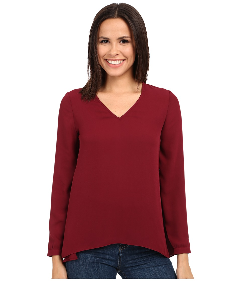 Olive & Oak - Long Sleeve Woven V-Neck Top (Cabernet) Women