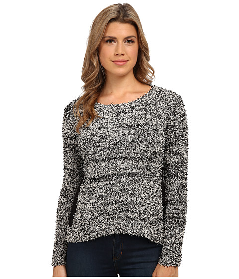Olive & Oak - Hi-Lo Crew Neck Sweater Top (Black Combo) Women's Sweater