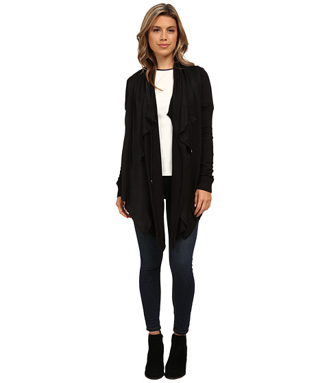 Olive & Oak - Open Sweater Woven Cardi (Black) Women