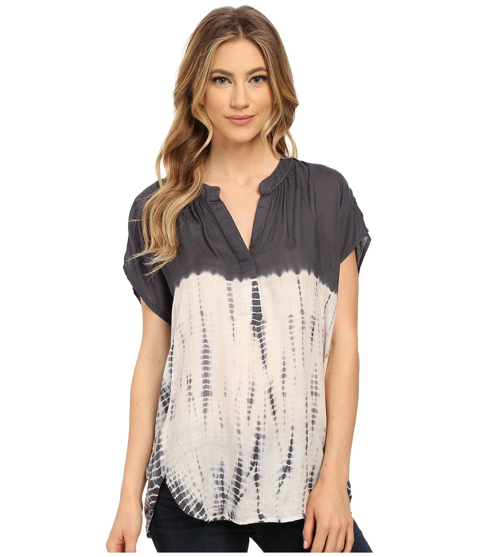 Olive & Oak - Boxy Tie-Dye Top (Charcoal) Women's Clothing