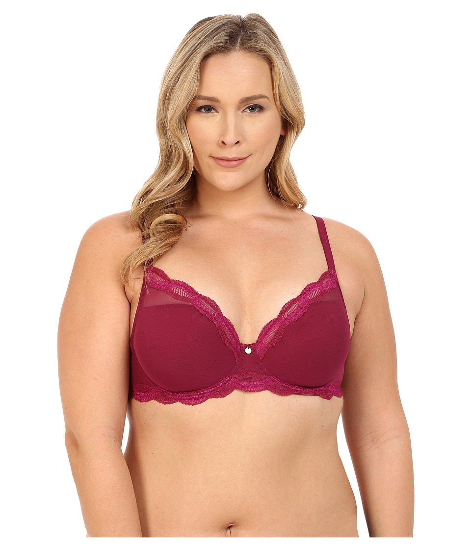 Natori - Pure Allure Full Figure Contour Underwire Bra 736099 (Red Plum/Rose) Women