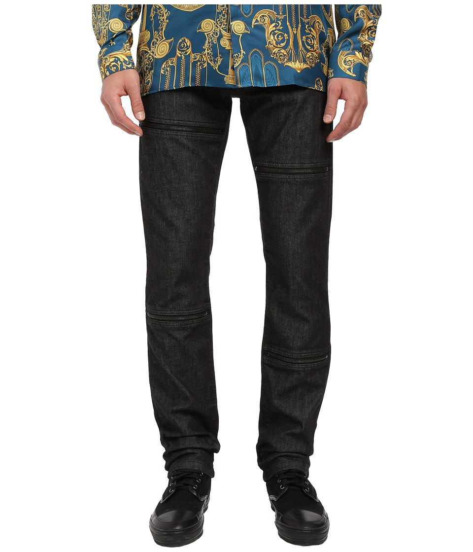 Versace Collection - Zip Panel Denim (Black Rinsed) Men's Jeans