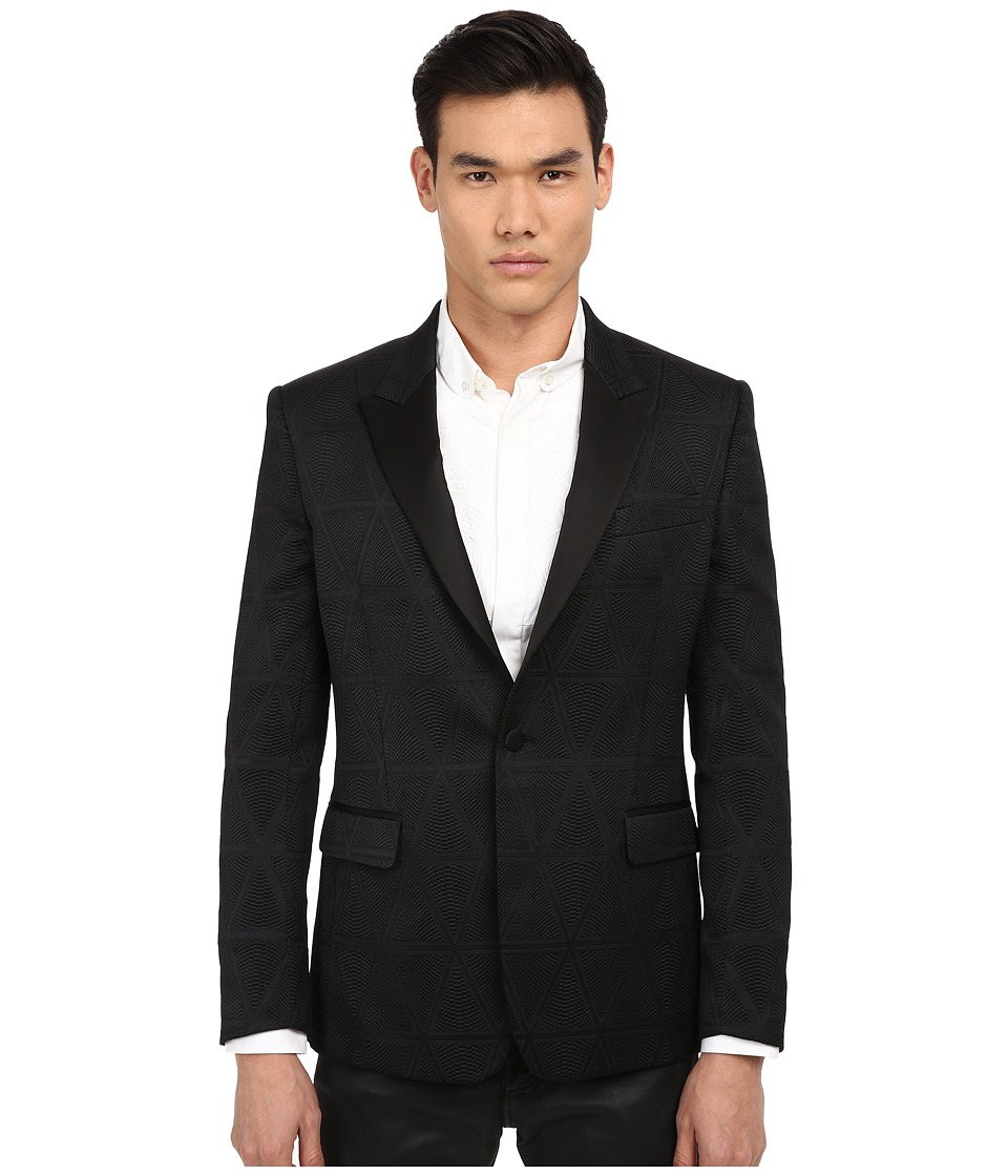 Versace Collection - Pyramid Print One-Button Blazer (Black) Men's Jacket