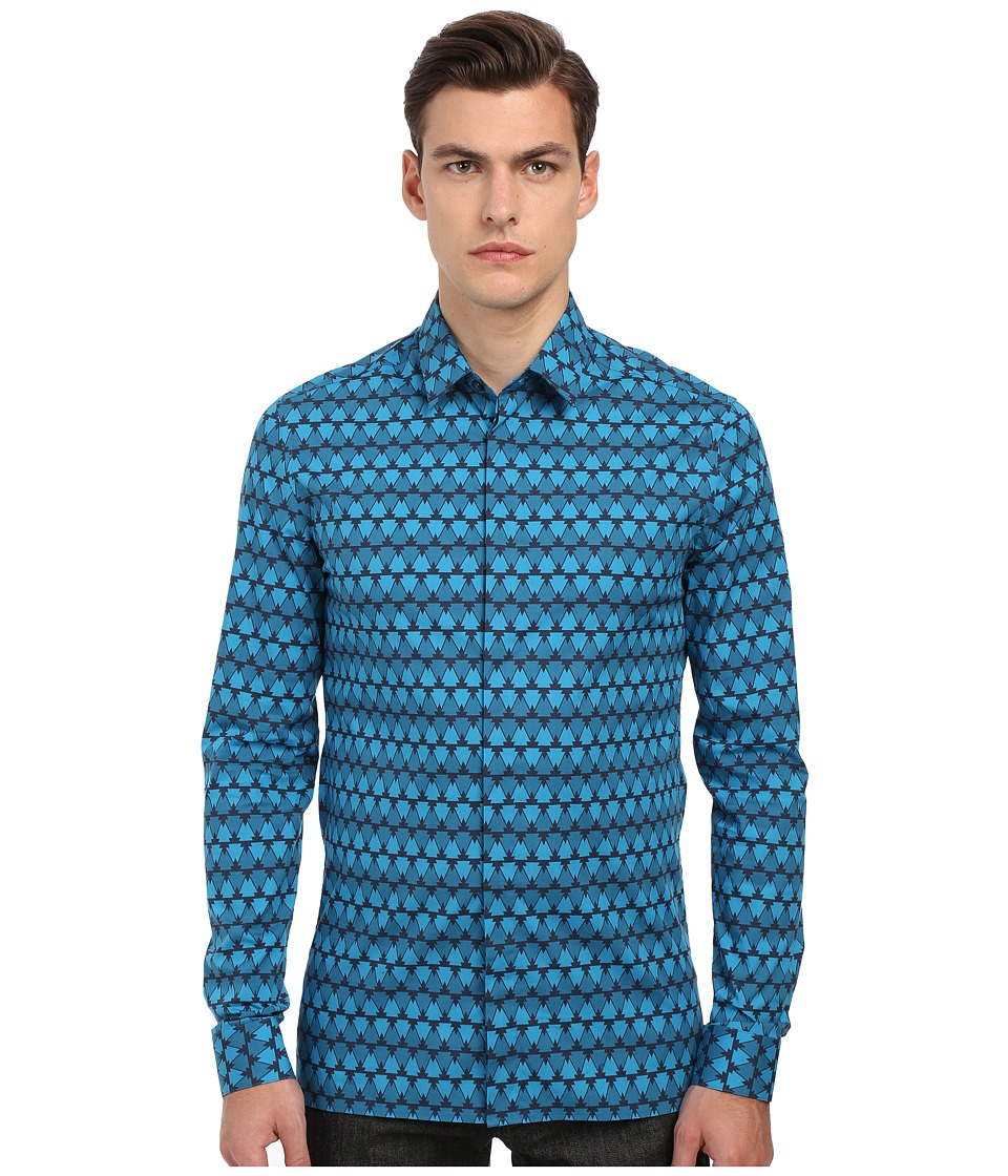 Versace Collection - Geometric Print Stretch Button Up (Navy/Blue) Men's Long Sleeve Button Up