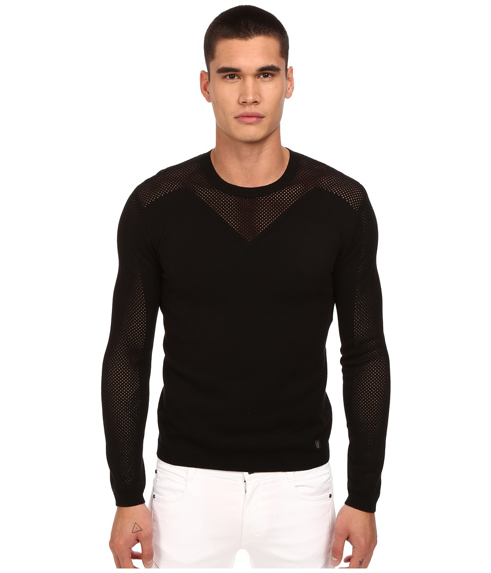 Versace Collection - See-Thru Paneled Sweater (Black) Men's Sweater