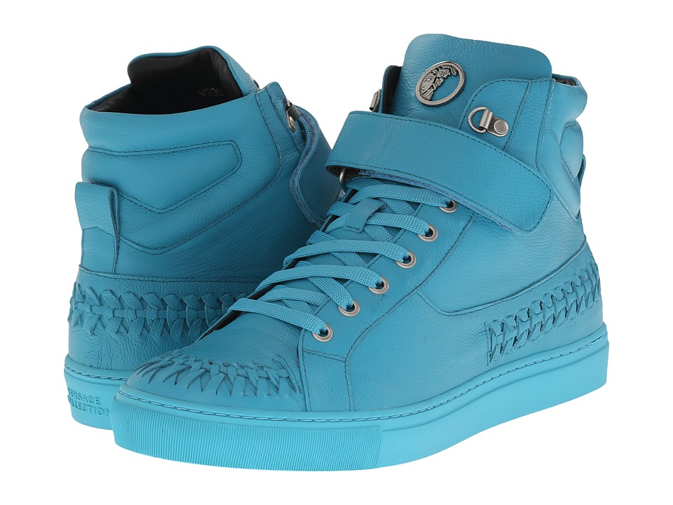 Versace Collection - Woven Leather Hi-Top Sneaker (Turquoise) Men's Lace up casual Shoes