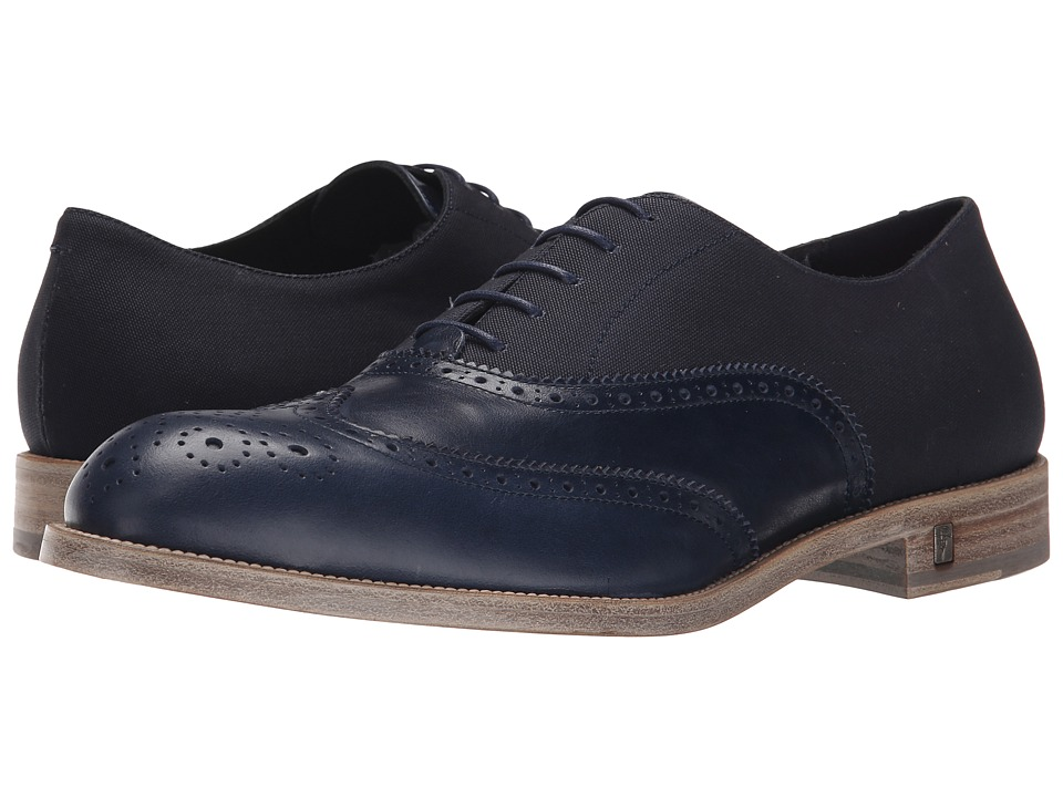 Versace Collection - Mixed Media Wingtip Oxford (Blue/Blue) Men's Lace Up Wing Tip Shoes