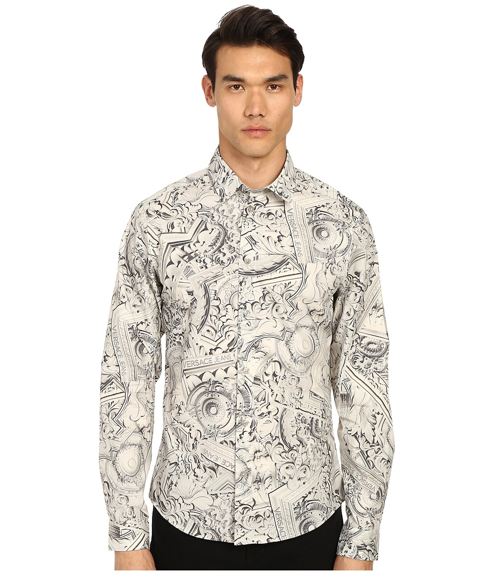 Versace Jeans - Framed Baroque Print Button Up (Grey Green) Men's Long Sleeve Button Up